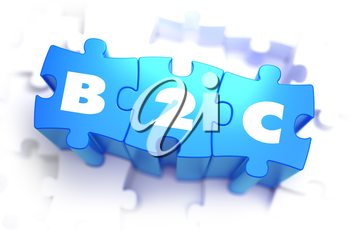 B2C - Business to Consumer - White Word on Blue Puzzles on White Background. 3D Illustration.