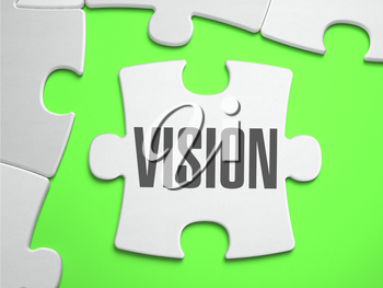 Vision - Jigsaw Puzzle with Missing Pieces. Bright Green Background. Close-up. 3d Illustration.