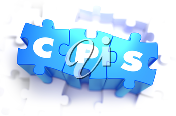 CPS - Cost Per Sale - White Word on Blue Puzzles on White Background. 3D Render.