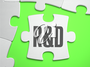Research and Development - Jigsaw Puzzle with Missing Pieces. Bright Green Background. Close-up. 3d Illustration.