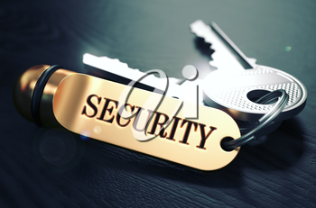 Security Concept. Keys with Golden Keyring on Black Wooden Table. Closeup View, Selective Focus, 3D Render. Toned Image.
