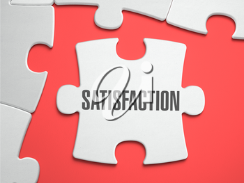 Satisfaction - Text on Puzzle on the Place of Missing Pieces. Scarlett Background. Close-up. 3d Illustration.