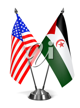 USA and Sahrawi Arab Democratic Republic - Miniature Flags Isolated on White Background.
