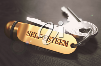 Self-Esteem - Bunch of Keys with Text on Golden Keychain. Black Wooden Background. Closeup View with Selective Focus. 3D Illustration. Toned Image.