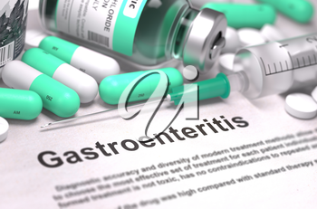 Gastroenteritis - Printed Diagnosis with Blurred Text. On Background of Medicaments Composition - Mint Green Pills, Injections and Syringe.
