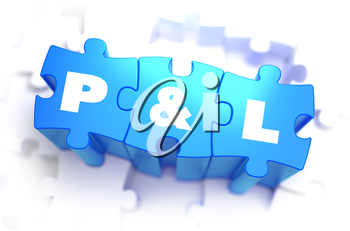 Profit and Loss - White Text on Blue Puzzles and Selective Focus. 3D Render.
