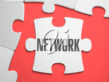 Network - Text on Puzzle on the Place of Missing Pieces. Scarlett Background. Close-up. 3d Illustration.