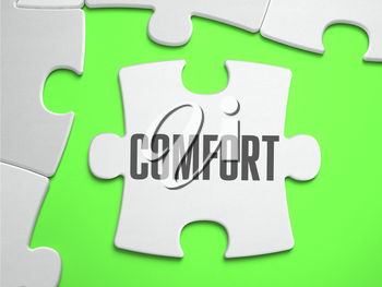 Comfort - Jigsaw Puzzle with Missing Pieces. Bright Green Background. Close-up. 3d Illustration.