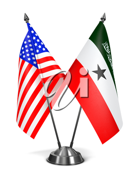 USA and Somaliland - Miniature Flags Isolated on White Background.