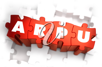 ARPU - Average Revenue Per User - Text on Red Puzzles with White Background. 3D Render.