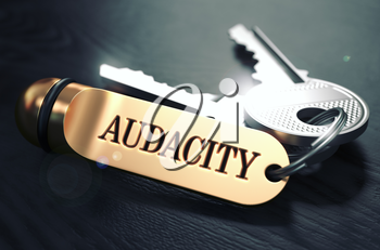 Keys with Word Audacity on Golden Label over Black Wooden Background. Closeup View, Selective Focus, 3D Render. Toned Image.
