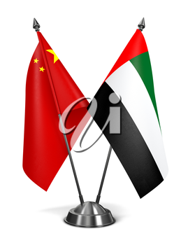 China, United Arab Emirates - Miniature Flags Isolated on White Background.