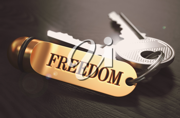 Keys to Freedom - Concept on Golden Keychain over Black Wooden Background. Closeup View, Selective Focus, 3D Render. Toned Image.