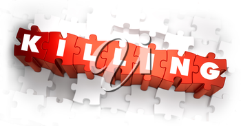 Killing - Text on Red Puzzles with White Background. 3D Render.
