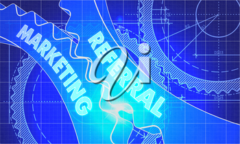 Referral Marketing Concept. Blueprint Background with Gears. Industrial Design. 3d illustration, Lens Flare.