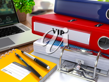 Red Ring Binder with Inscription VIP - Very Important Person - on Background of Working Table with Office Supplies, Laptop, Reports. Toned Illustration. Business Concept on Blurred Background.