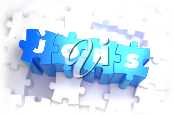 Jobs - White Word on Blue Puzzles on White Background and Selective Focus. 3D Render.