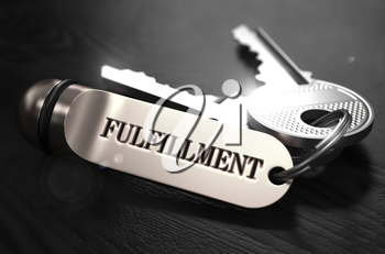Fulfillment Concept. Keys with Keyring on Black Wooden Table. Closeup View, Selective Focus, 3D Render. Black and White Image.