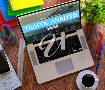 Traffic Analysis on Laptop Screen. Office Working Concept.