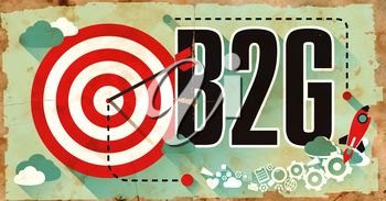 B2G Concept on Old Poster in Flat Design with Red Target, Rocket and Arrow. Business Concept.