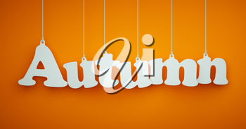 Autumn - the Word of the White Letters Hanging on the Ropes on a Orange Background.