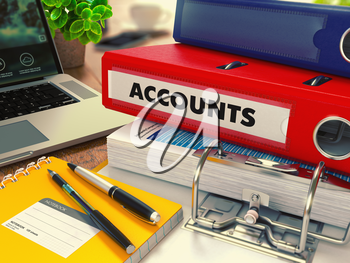 Red Office Folder with Inscription Accounts on Office Desktop with Office Supplies and Modern Laptop. Business Concept on Blurred Background. Toned Image.