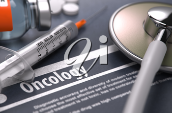 Oncology - Medical Concept on Grey Background with Blurred Text and Composition of Pills, Syringe and Stethoscope. Selective Focus.