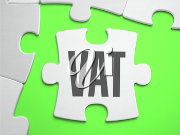 VAT - Value Added Tax - Jigsaw Puzzle with Missing Pieces. Bright Green Background. Close-up. 3d Illustration.
