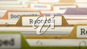 Records Concept on Folder Register in Multicolor Card Index. Closeup View. Selective Focus.
