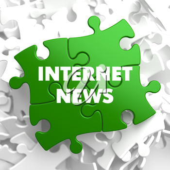 Internet News on Green Puzzle on White Background.