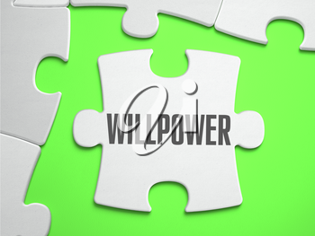 Willpower - Jigsaw Puzzle with Missing Pieces. Bright Green Background. Close-up. 3d Illustration.