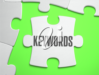 Keywords - Jigsaw Puzzle with Missing Pieces. Bright Green Background. Close-up. 3d Illustration.