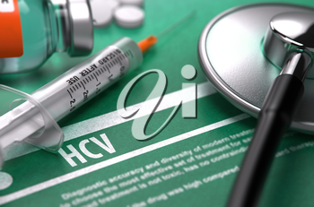 Diagnosis - HCV. Medical Concept on Green Background with Blurred Text and Composition of Pills, Syringe and Stethoscope. Selective Focus.
