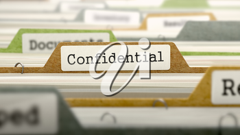 Confidential Concept. Colored Document Folders Sorted for Catalog. Closeup View. Selective Focus.