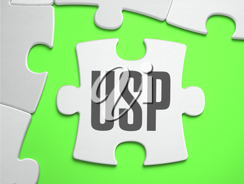 USP - Unique Selling Proposition - Jigsaw Puzzle with Missing Pieces. Bright Green Background. Close-up. 3d Illustration.
