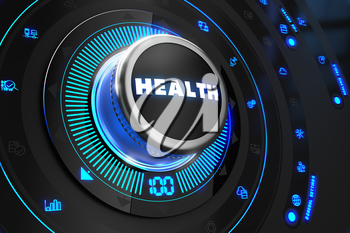 Health Controller on Black Control Console with Blue Backlight. Improvement, regulation, control or management concept.