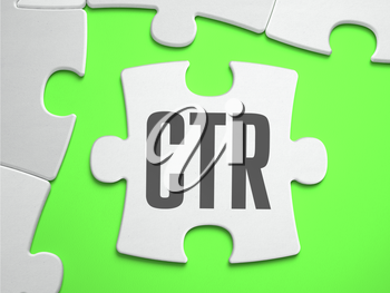 CTR - Click Through Rate - Jigsaw Puzzle with Missing Pieces. Bright Green Background. Close-up. 3d Illustration.