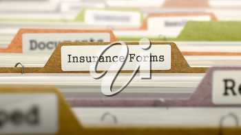 Folder in Colored Catalog Marked as Insurance Forms Closeup View. Selective Focus.