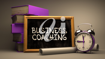 Hand Drawn Business Coaching on Chalkboard. Blurred Background. Toned Image.