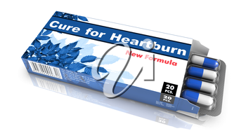 Cure for Heartburn - Blue Open Blister Pack Tablets Isolated on White.