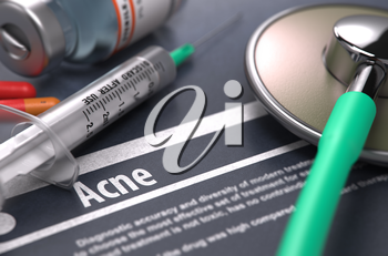 Diagnosis - Acne. Medical Concept with Blurred Text, Stethoscope, Pills and Syringe on Grey Background. Selective Focus.