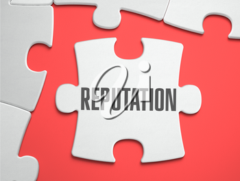 Reputation - Text on Puzzle on the Place of Missing Pieces. Scarlett Background. Close-up. 3d Illustration.