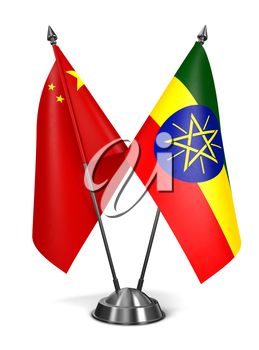 China and Ethiopia - Miniature Flags Isolated on White Background.