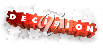 Decision - White Word on Red Puzzles on White Background. 3D Illustration.