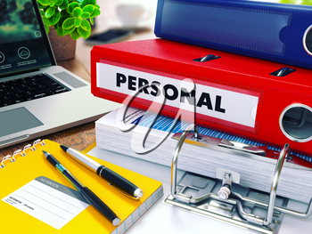 Personal - Red Ring Binder on Office Desktop with Office Supplies and Modern Laptop. Business Concept on Blurred Background. Toned Illustration.