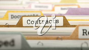 Contracts Concept on File Label in Multicolor Card Index. Closeup View. Selective Focus.