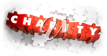 Charity - White Word on Red Puzzles on White Background. 3D Illustration.