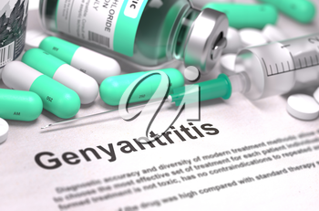 Diagnosis - Genyantritis. Medical Report with Composition of Medicaments - Light Green Pills, Injections and Syringe. Blurred Background with Selective Focus.
