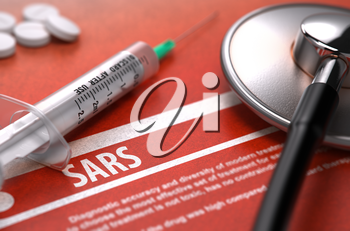 Diagnosis - SARS. Medical Concept on Orange Background with Blurred Text and Composition of Pills, Syringe and Stethoscope. Selective Focus.