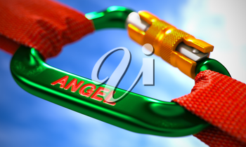 Green Carabine with Red Ropes on Sky Background, Symbolizing the Angel. Selective Focus.